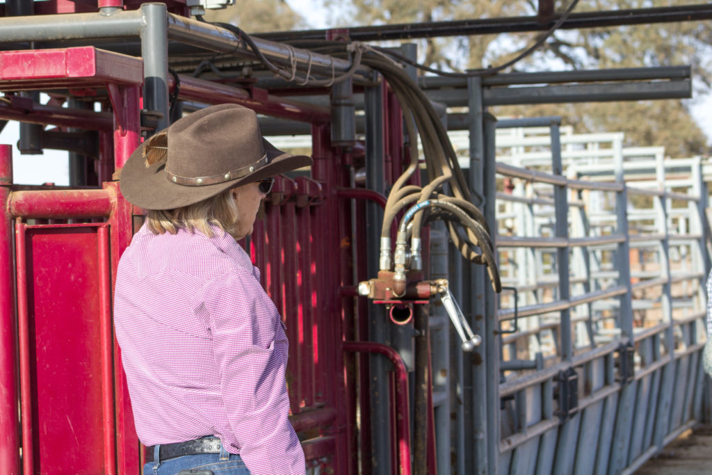 Image of woman standing near stable