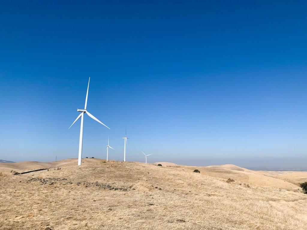 Image of wind fan in field