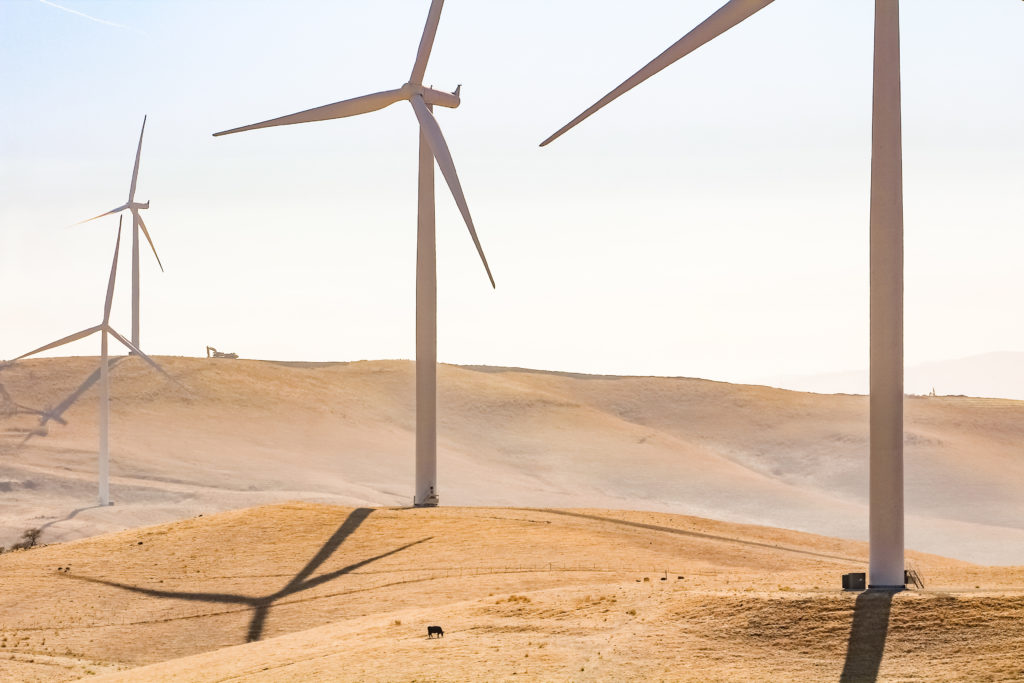 Image of wind mills in desert