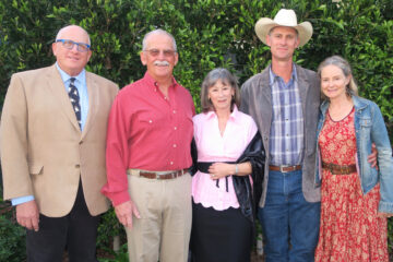 Sponsor Erik Hvolboll (La Paloma Ranch) with cohosts Daniel Doiron and Pamela Doiron (El Rancho Espa–ñol de Cuyama) and cohosts Russell Chamberlain and Monika McCoy (both from Ted Chamberlin Ranch) | Credit: Gail Arnold