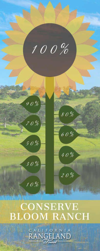 Image of progress bar showing 100% of the funds raised to support conservation of the Bloom Ranch